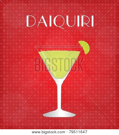 Drinks List Daiquiri With Red Background