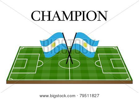 Football Champion Field With Argentinian Flag