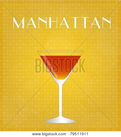 Drinks List Manhattan With Golden Background