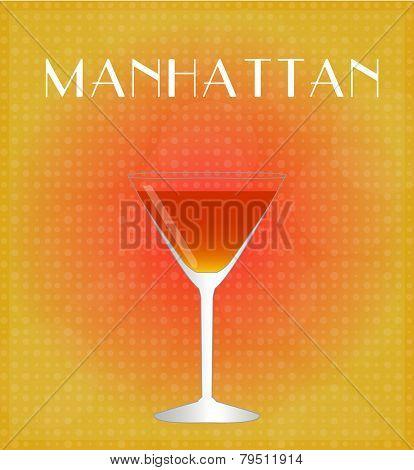 Drinks List Manhattan With Red & Golden Background