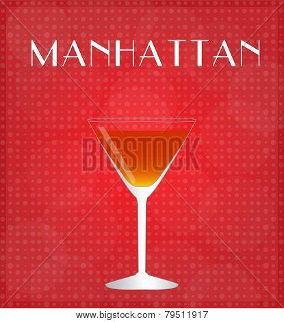 Drinks List Manhattan With Red Background
