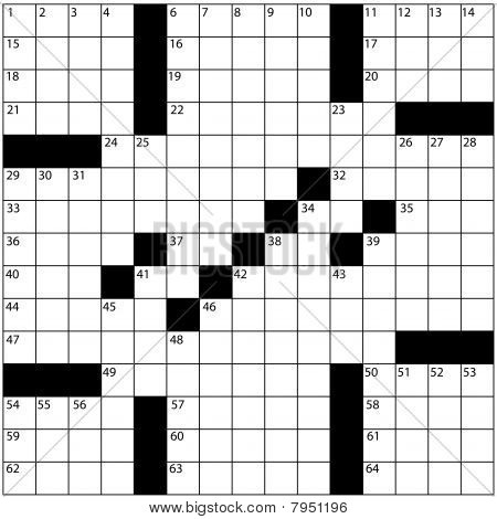 Large Newspaper Style Crossword Puzzle Grid Numbers