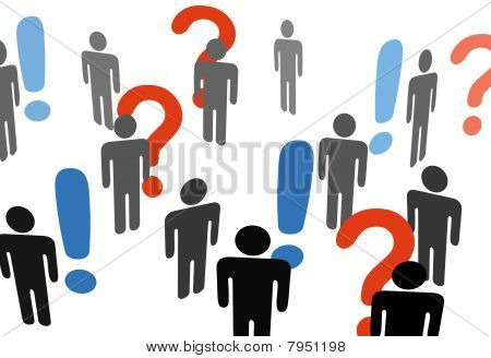 People Search Information Exclamation Question Marks