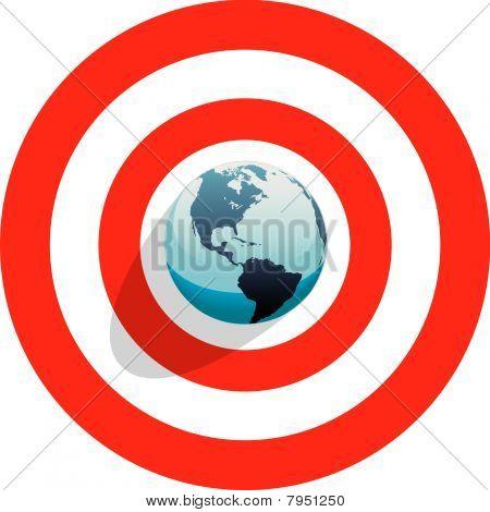 Earth At Center Of Bulls Eye On Red World Target