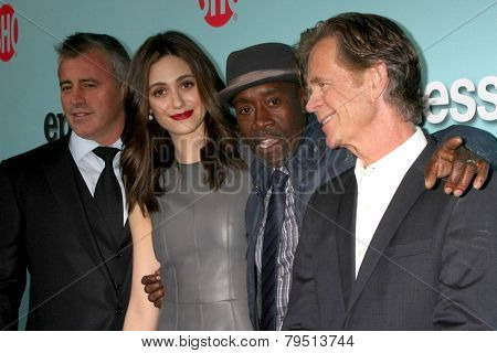 LOS ANGELES - JAN 5:  Matt LeBlanc, Emmy Rossum, Don Cheadle, William H Macy at the Showtime Celebrates All-New Seasons Comedies at Cecconi's on January 5, 2014 in West Hollywood, CA