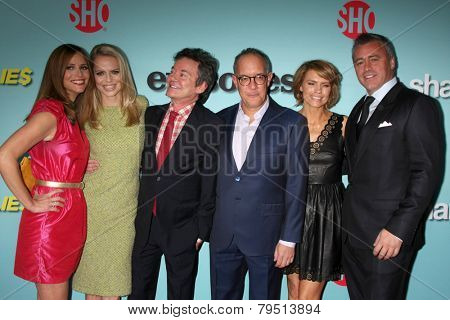 LOS ANGELES-JAN 5: Andrea Savage, Mircea Monroe, Jeffrey Klarik, David Crane, Kathleen Rose Perkins, Matt LeBlanc at the Showtime Celebrates Comedies at Cecconi's on January 5, 2014 in W Hollywood, CA
