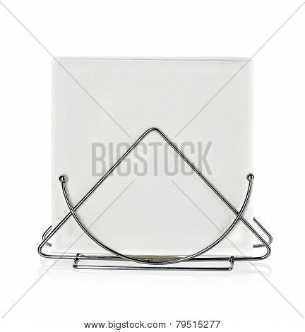A Table Napkin Holder With Napkin, Isolated On White