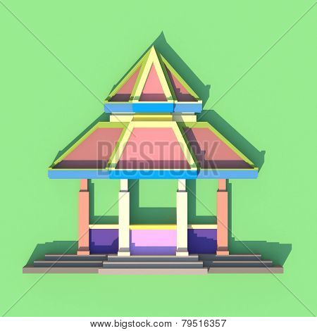 3D Evelation Of South-east Asian Pavilion Or Temple Front View In Artistis Design