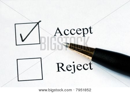Select the Accept option with a pen