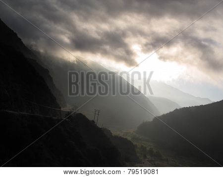 clouds and haze in mountain reigion at sunrise
