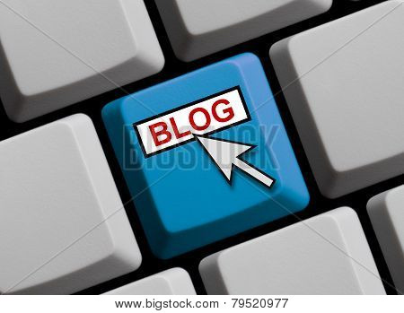Blue Computer Keyboard showing Blog