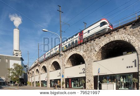 Train Passing Viaduct