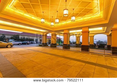 hotel entrance front reception hall