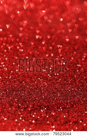 Red heart bokeh background, Valentines day design