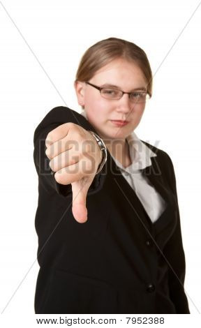 Thumbs Down Young Business Woman
