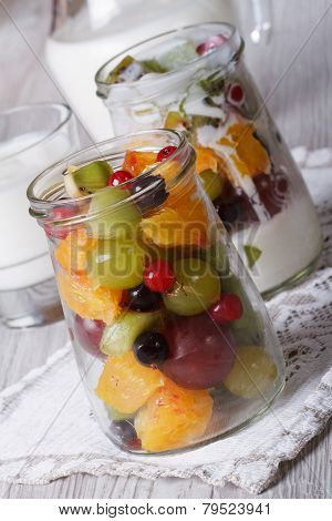 Healthy Food: Fresh Fruit In A Glass Jar And Yoghurt Close-up