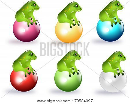 Frogs On Colored Balls