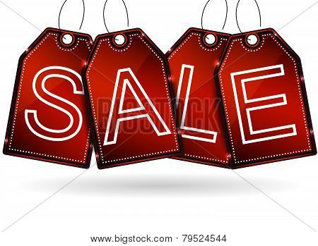 Sale tags on a white background