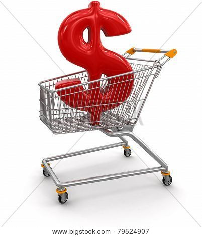 Shopping Cart with Dollar  (clipping path included)