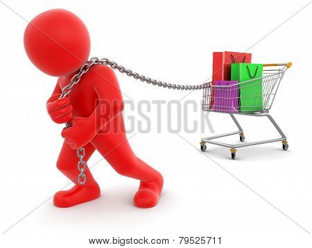 Man and Shopping Cart with bags(clipping path included)