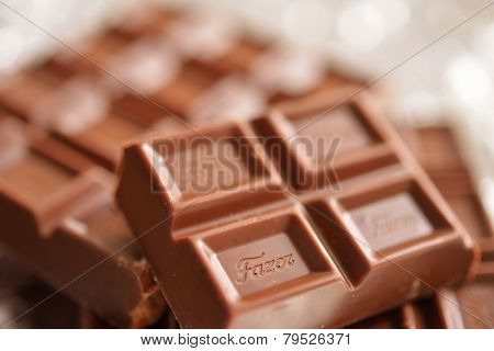 NOVOSIBIRSK, RUSSIA - NOVEMBER 21, 2014: Closeup view of the chocolate Fazer. Karl Fazer milk chocolate is the most valued Finnish brand known since 1891