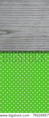 Green Tablecloth pattern with wooden board