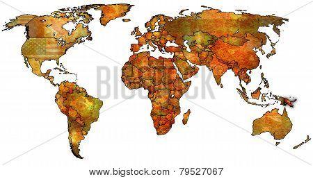 Papua New Guinea Territory On World Map