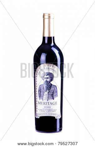 Hayward, CA - December 31, 2014: bottle of Jebediah Drinkwell's Meritage red wine