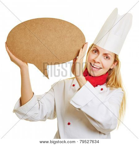 Smiling woman as chef cook with big empty speech bubble