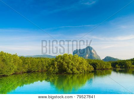 Serene River Mountains Afar