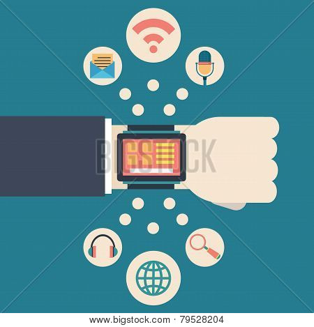 Vector Flat Illustration Of Businessman's Hand With Electronic Intelligence Watch And Technology Fun