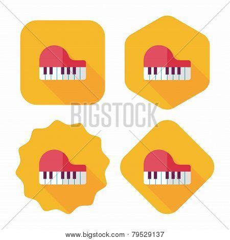 Piano Flat Icon With Long Shadow