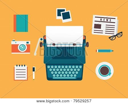 Vector Flat Illustration Of Workplace Of Typewriter With Documents And Equipment For Blog. Old Journ