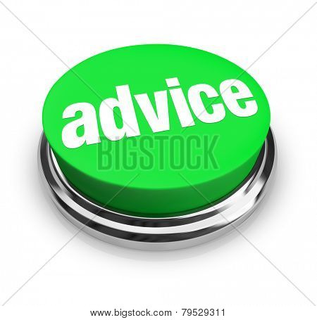 Advice word on a green button for you to find support, service, help, asistance, information or tips to complete a job or task