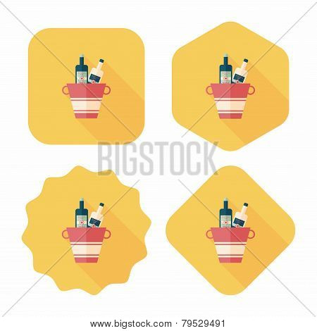Ice Bottle Flat Icon With Long Shadow,