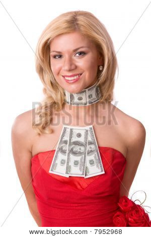 Woman In Red Dress With Dollars.
