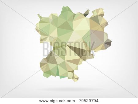 Low Poly map of french region Rhône-Alpes