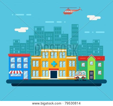 Urban Landscape Hospital Shop Residential House City Street Background Flat Design Vector Illustrati