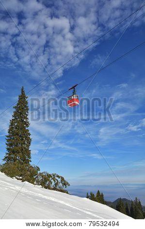 Cable Car In Winter, Brasov, Romania