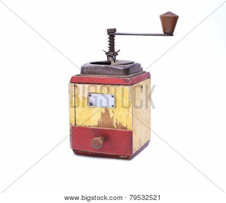 Old Pepper Mill on white background