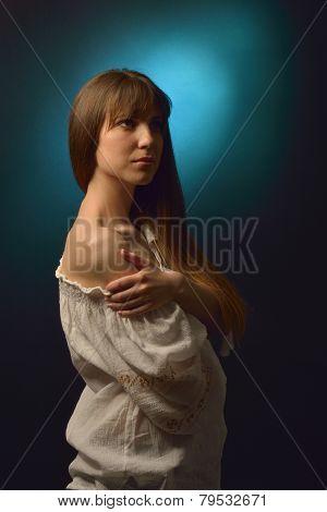 Young Pretty Woman Portrait In Studio