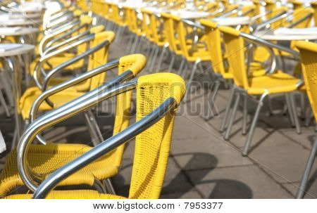 Yellow Cafe Chairs In San Marco Piazza