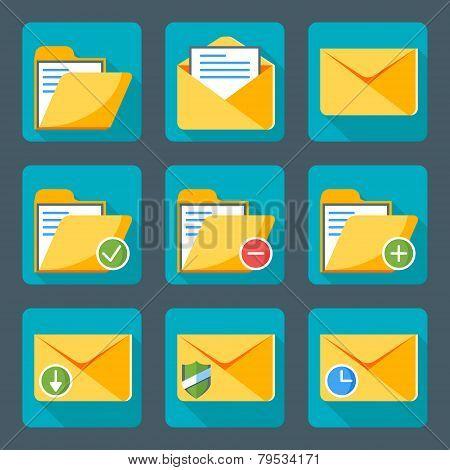 Flat Style Icon Set For Web And Mobile Application. Basic Icons, Mail, Folder, Envelope