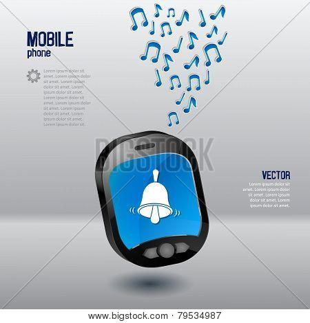 Mobile phone template with bell and music notes