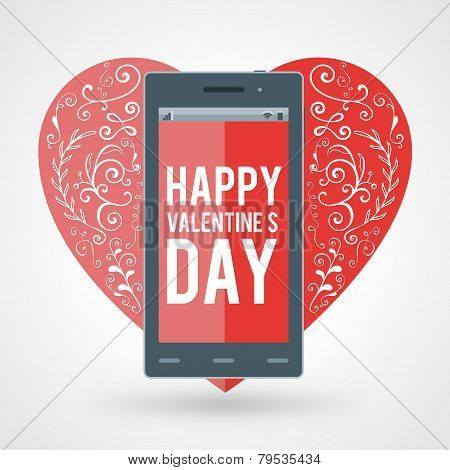 Smartphone With Happy Valentine's Day And Big Heart With Handdrawn Design Elements