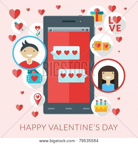 Smartphone With Love Sms And St. Valentine Icons