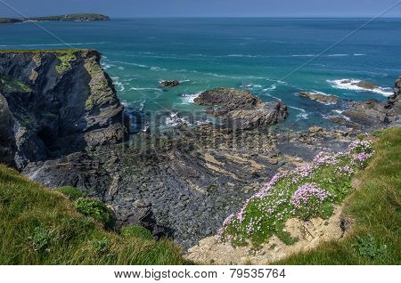 walking towards stepper point in cornwall england uk