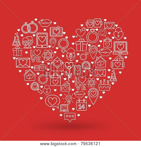 St. Valentine's Day Card Design. Heart Made Of Love Icons