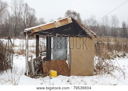 Temporary Self-made Shelter In Winter