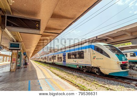 Platform And Train At Palermo Railway Station, Italy